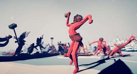 """Visas i utställningen Yarny, Medusa och en elefant. Scen ur Totally Accurate Battle Simulator med titeln """"Stone Thrower"""" (2019), av Pontus Ullbors för Landfall Games. © Landfall Games"""