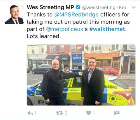 #Walkthemet - Wes Streeting tweet