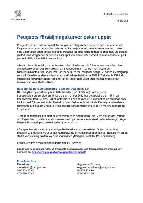 Peugeot försäljningskurvor pekar uppåt
