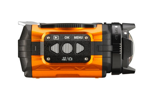 Ricoh WG-1M actionkamera oransje fra siden II