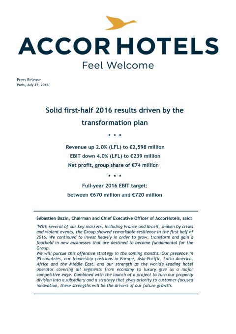 AccorHotels half year results 2016