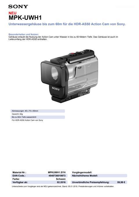 Datenblatt MPK-UWH1 von Sony