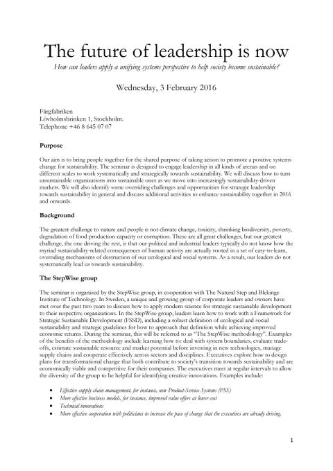 Agenda 3 February 2016 - The Future of leadership is now