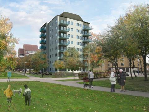 På Husensjö startar nu bygget av 60 nya bostäder, ett exempel där Helsingborgshem utvecklar på sin egen mark