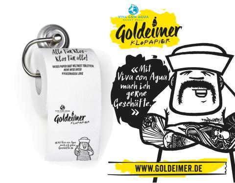 FÜR GROSS UND KLEIN  Viva con Agua bringt Goldeimer-Klopapier auf den Markt!