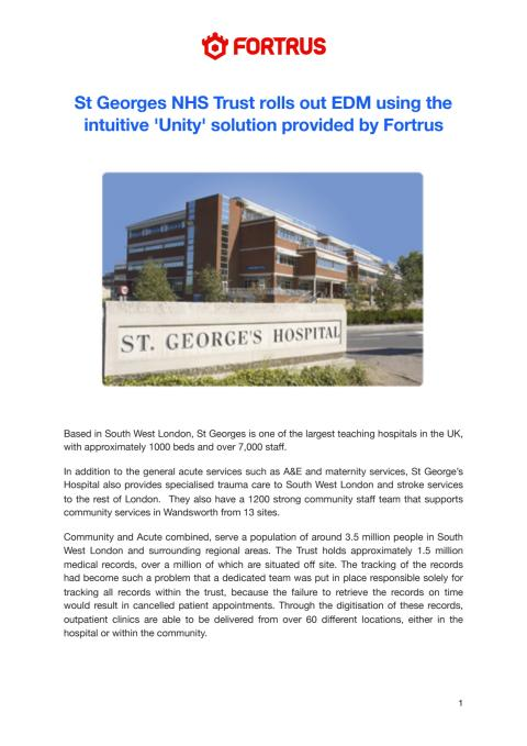 St Georges NHS Trust rolls out EDM using the intuitive 'Unity' solution provided by Fortrus