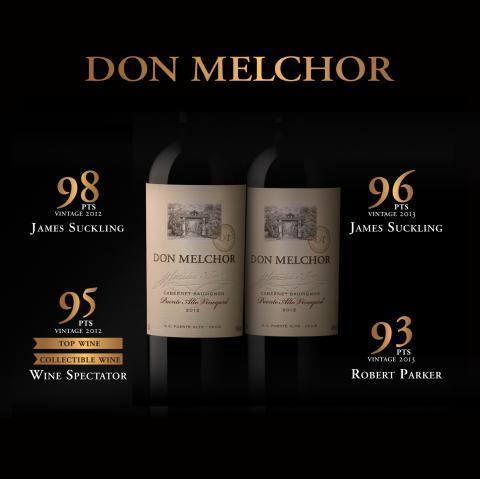 Två årgångar av Don Melchor topprankade av James Suckling