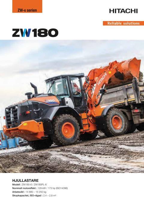 Broschyr Hitachi ZW180-6 hjullastare