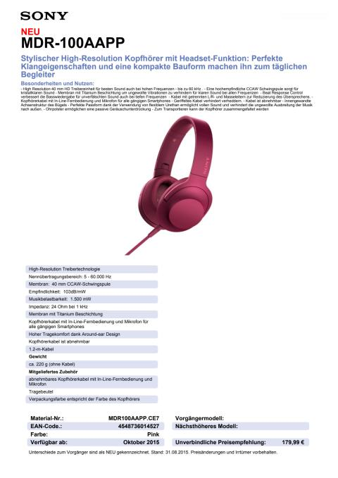 Datenblatt h.ear on von Sony_pink