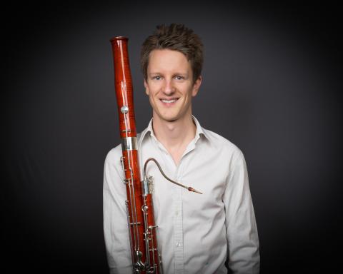 Sebastian Stevensson, fagottist, tidigare student vid Kungl. Musikhögskolan (KMH), vinnare av Solistpriset 2016. Foto: Mattias Ahlm, Sveriges Radio.