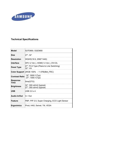 Technical Specifications SD850