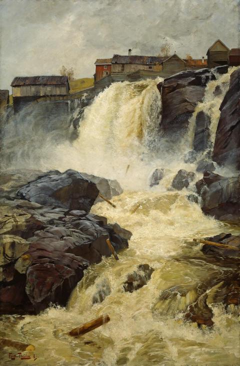 Haugfossen ved Modum, 1883 av Frits Thaulow
