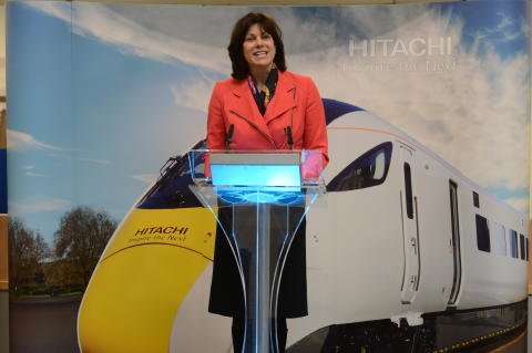 Rail Minister Claire Perry at event in Southampton Port