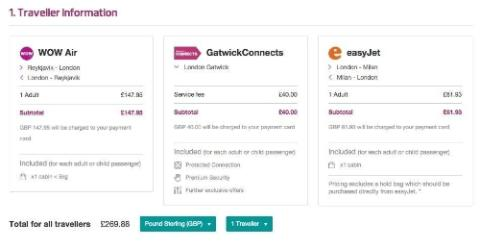 GatwickConnects booking process