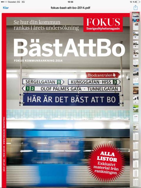 """Väsby klättrar 157 placeringar i """"Bäst att bo"""" ranking"""