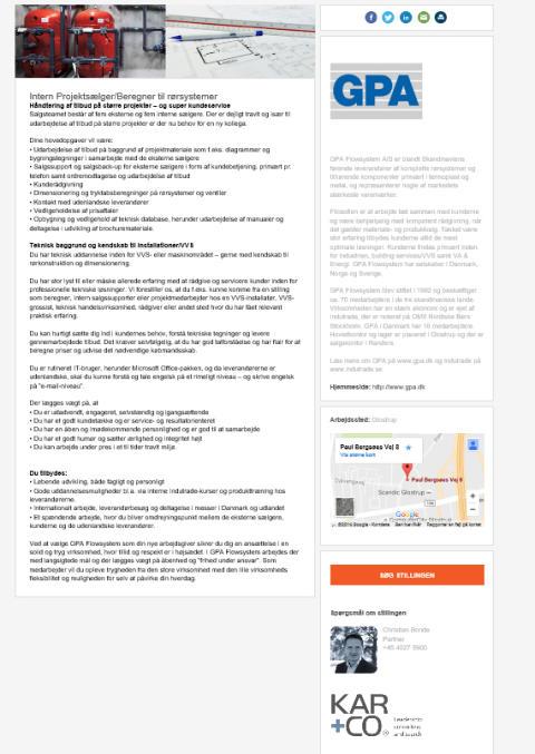 Vi søger: Intern Projektsælger/Beregner til rørsystemer