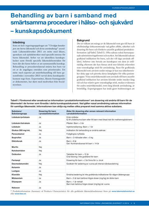 Behandling av barn i samband med smärtsamma procedurer_kunskapsdokument
