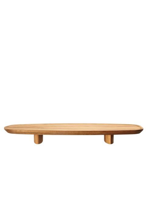 R_Junto_Wooden tray on foot 45x16 cm side