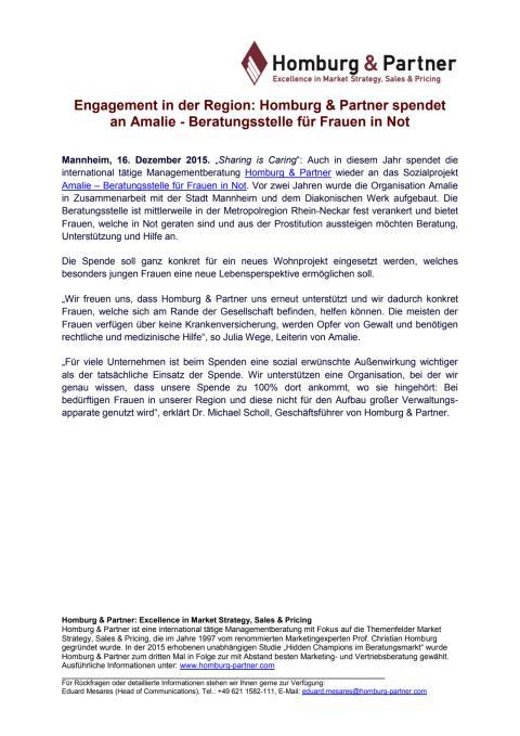 Engagement in der Region: Homburg & Partner spendet  an Amalie - Beratungsstelle für Frauen in Not