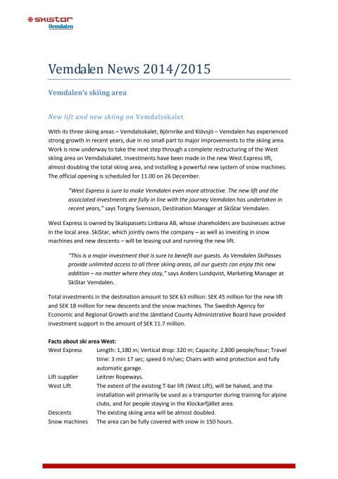 Vemdalen News 2014/2015