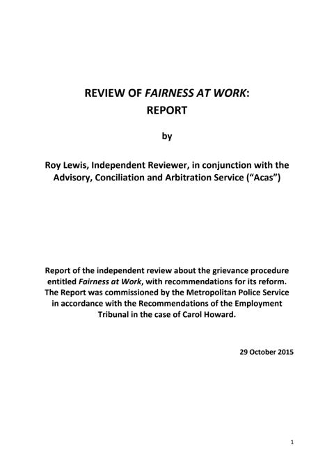 A copy of the report by Professor Roy Lewis of ACAS.