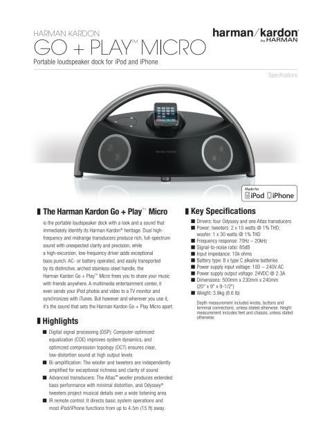 Specification sheet - harman kardon Go and Play Micro (English)