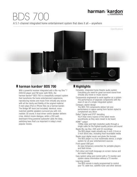 Specification sheet - harman kardon BDS 700 (English)