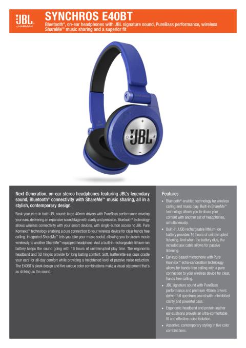 Produktspecifikation JBL E40 BT