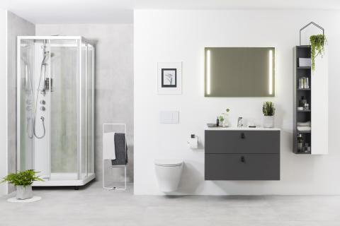 IDO Elegant -alakaappi ja -pesuallas, IDO Rimfree 66 -wc-istuin, IDO Showerama 10-5 -suihkukaappi