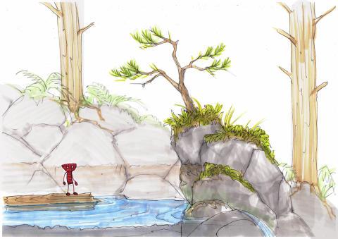"""Visas i utställningen Yarny, Medusa och en elefant. Konceptskiss för Unravel med titeln """"Berry Mire Water Puzzle"""" (2014), av Dick Adolfsson för Coldwood Interactive. © Coldwood Interactive"""
