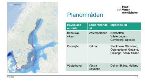 Havsplanering - omfattar tre havsplaneområden