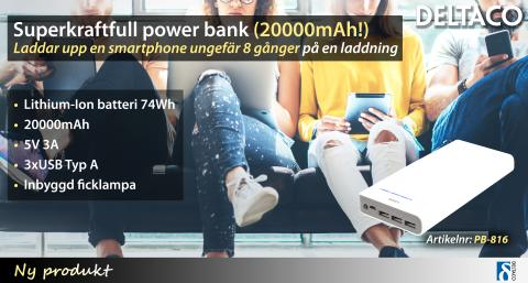 Superkraftfull power bank (20000mAh!) från DELTACO