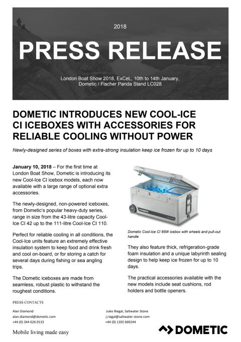 Dometic Introduces New Cool-Ice CI Iceboxes with Accessories for Reliable Cooling Without Power