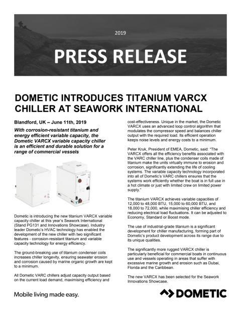 Dometic Introduces Titanium VARCX Chiller at Seawork International