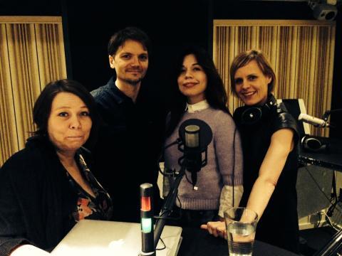 Sexpodden i studion: Maria Bergström, Pelle Ullholm, Lotta Lundgren och Katarina Andersson