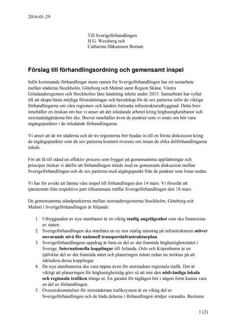 Gemensamt brev till Sverigeförhandlingen