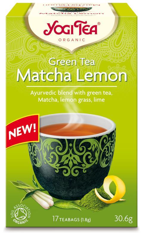 YOGI TEA® Green Tea Matcha Lemon sammanfogar ayurvedisk örtkunskap med grönt te enligt buddistiskt hantverk.