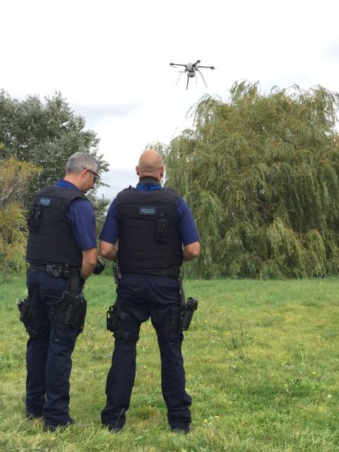 Officers using drone