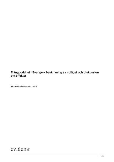 Trångboddhet i Sverige – beskrivning av nuläget och diskussion om effekter