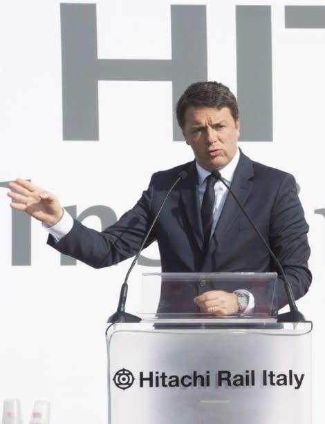Il Premier Renzi in visita all'Hitachi Rail Italy di Pistoia
