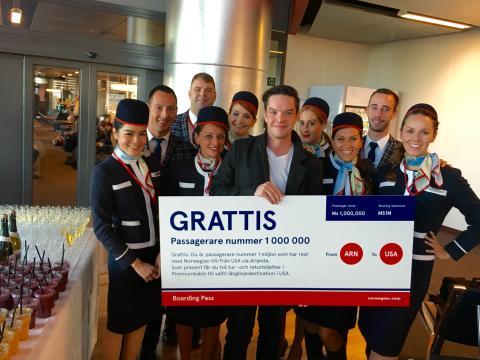En miljon passagerare har flugit med Norwegians långlinjer via Stockholm Arlanda