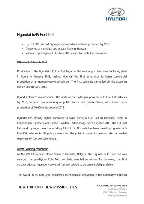 ix35 hydrogenbil - tekniske detaljer