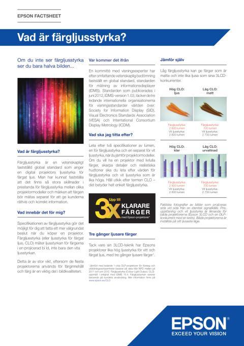 Epson CLO - Faktablad: Vad är färgljusstyrka?