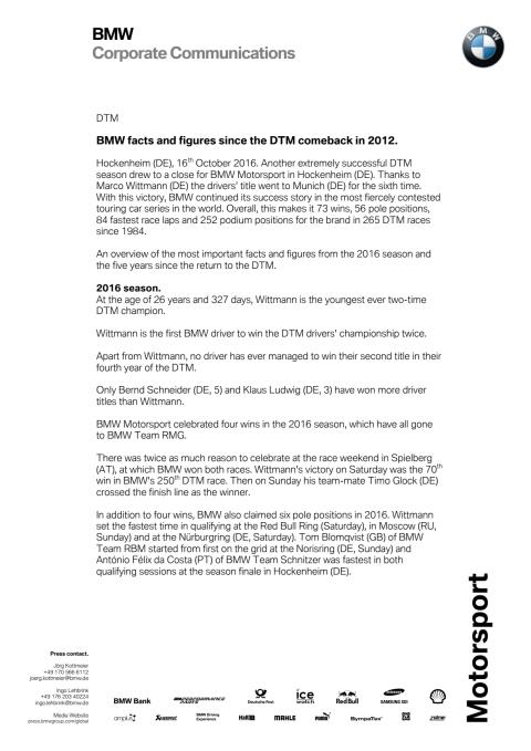 BMW facts and figures since the DTM comeback in 2012