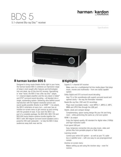 Specification sheet - harman kardon BDS 5 (English)