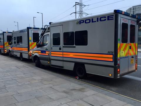 Police vans on operational activity