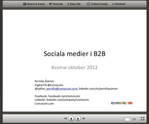 Sociala medier i B2B - presentation på Swedish Social Media Webinars #ssmw