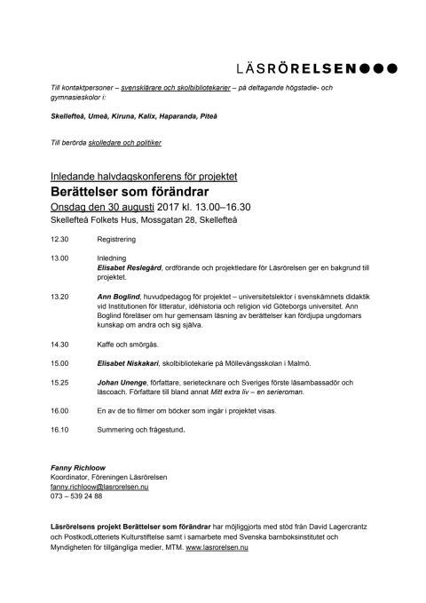 Program Berättelser som förändrar SKELLEFTEÅ