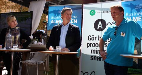 Emma Jonsteg, moderator och vd, Utopia Arkitekter, Dan Sandén, vd på Skövdebostäder och Bengt Fardelius, affärschef BoKlok