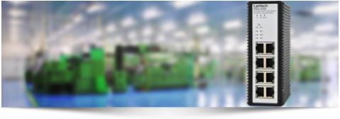 PoE switch med åtta portar för industrin